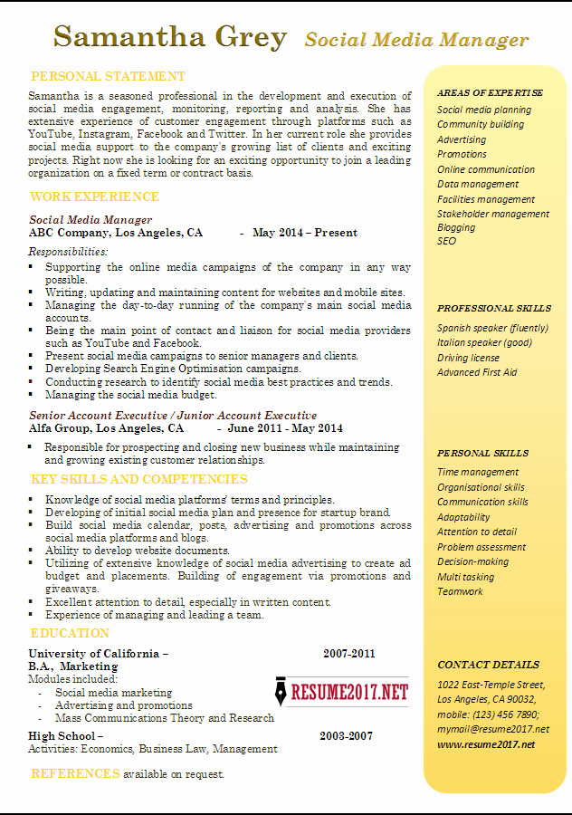 Social Media Manager Resumes Unique social Media Manager Resume Examples 2017