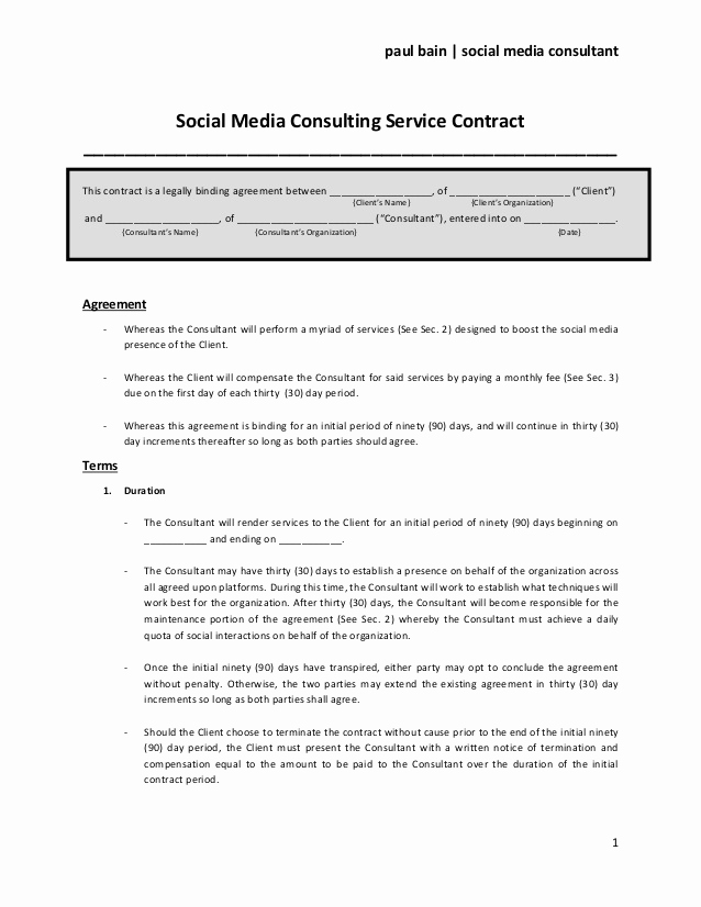 Social Media Marketing Contract Best Of social Media Contract Templates Word Excel Samples