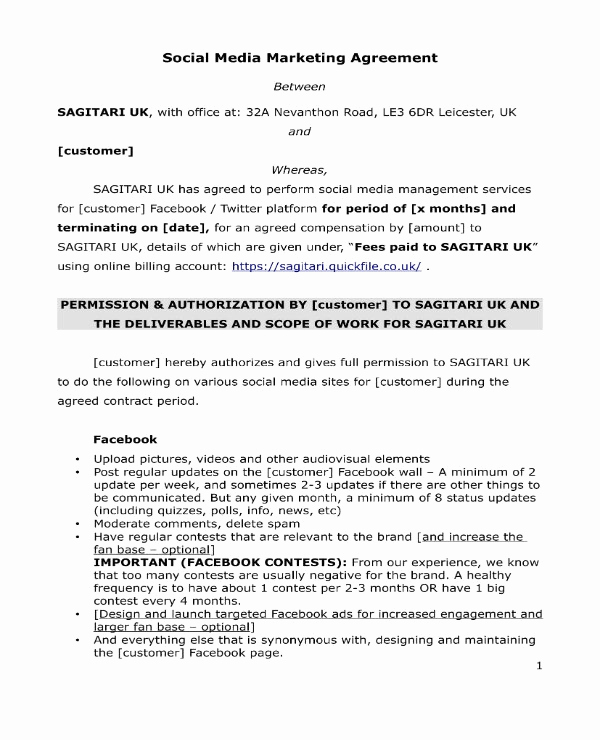Social Media Marketing Contract New 3 social Media Marketing Contract Pdf
