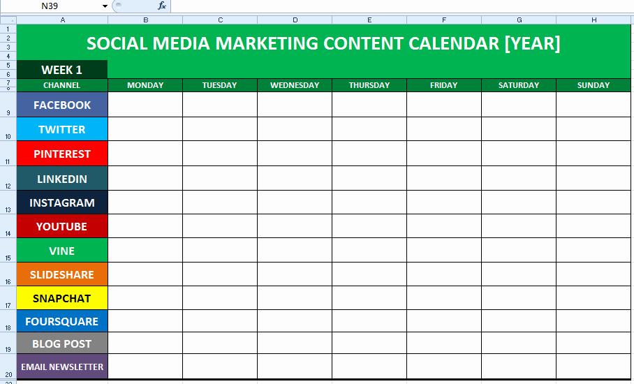 Social Media Marketing Plan Templates Best Of social Media Content Calendar Template Excel