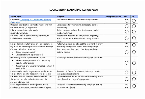 Social Media Marketing Plan Templates New 90 Action Plan Templates Word Excel Pdf