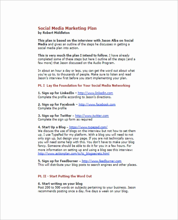 Social Media Marketing Plan Templates Unique 11 social Media Marketing Plan Templates Pdf Doc
