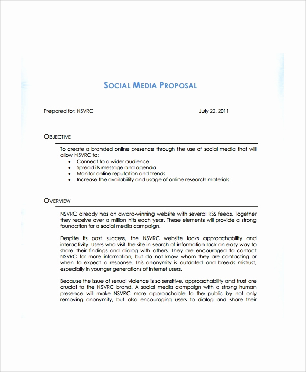 Social Media Marketing Proposal Beautiful 12 social Media Marketing Proposal Examples & Samples