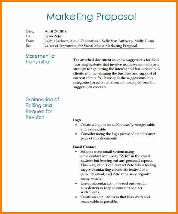 Social Media Marketing Proposal Fresh Sample Letter Of Transmittal for A Business Plan