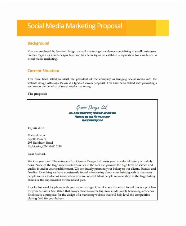 Social Media Marketing Proposal Unique 9 social Media Marketing Proposal Examples & Samples