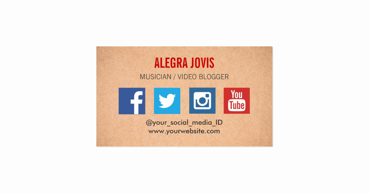 Social Media On Business Cards Unique social Media Musician You Tube Business Card
