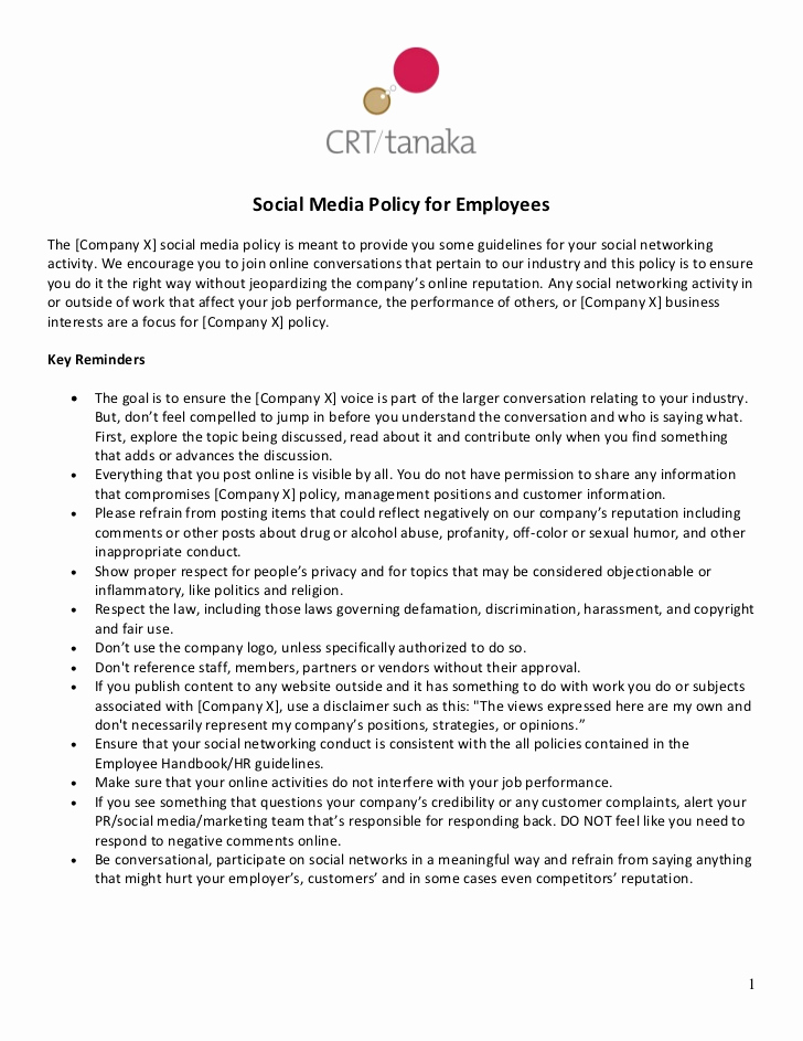 Social Media Policy Template Awesome Crt Tanaka social Media Policy Template for Employees