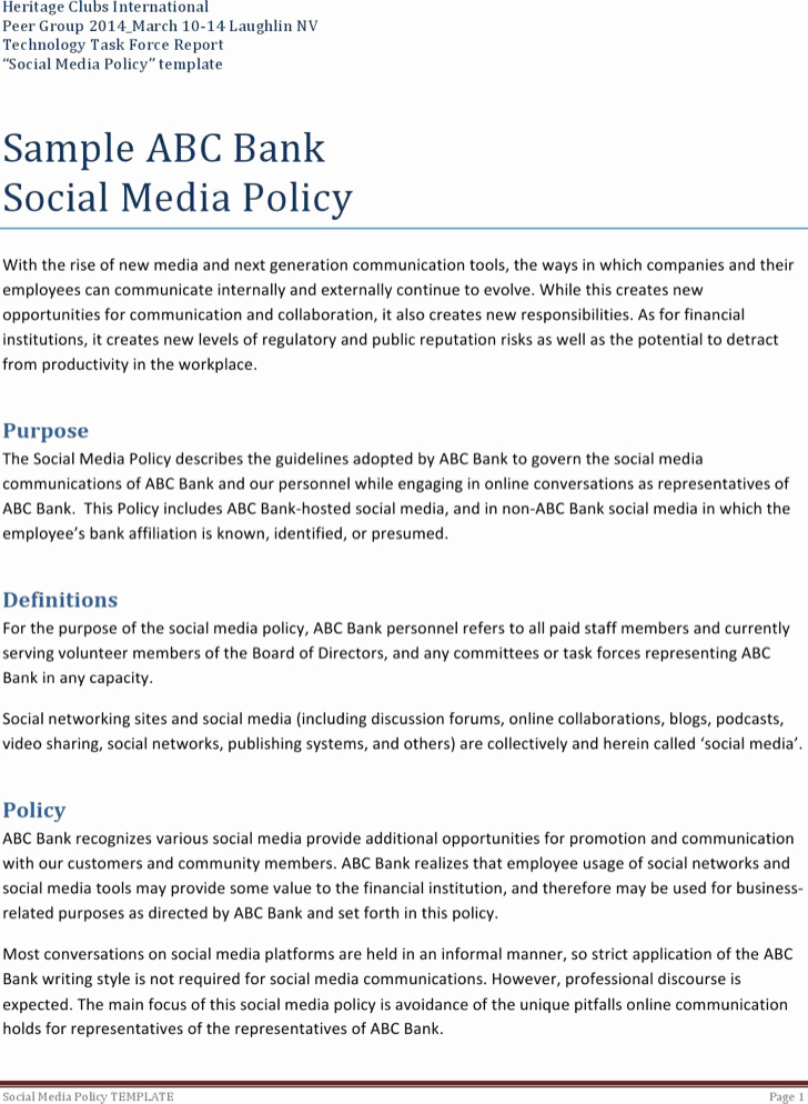 Social Media Policy Template Best Of 8 social Media Policy Templates Free Download