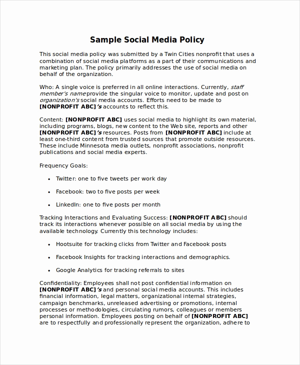 Social Media Policy Template Fresh Policy Template 10 Free Word Pdf Document Downloads