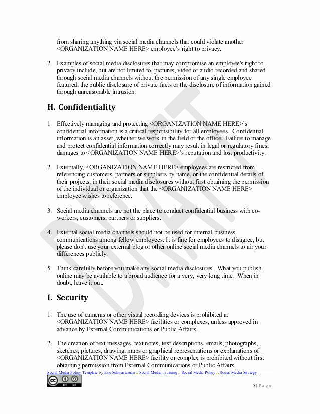 Social Media Policy Template Lovely social Media Policy Template