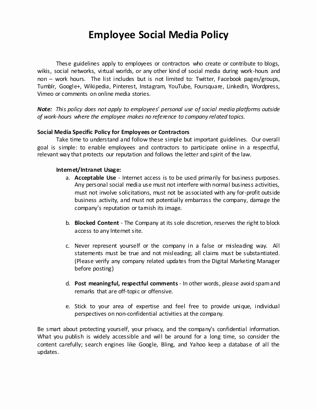 Social Media Policy Template Luxury Sample Of social Media Policy Hr