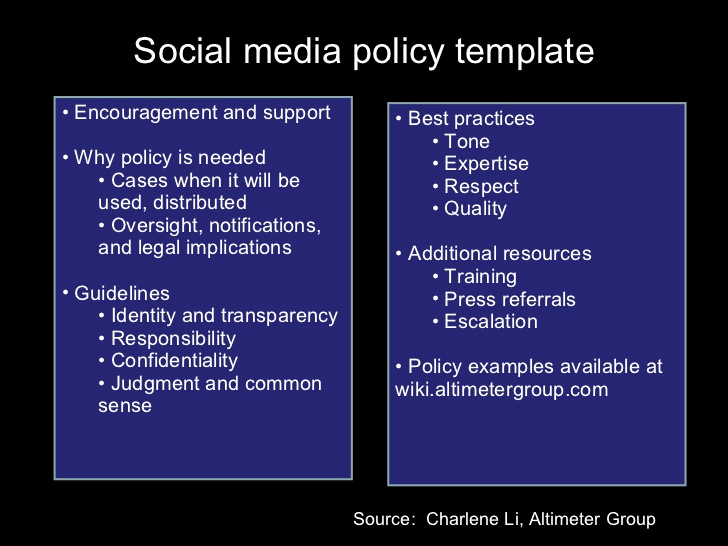 Social Media Policy Template New social Media Policy Template Encouragement