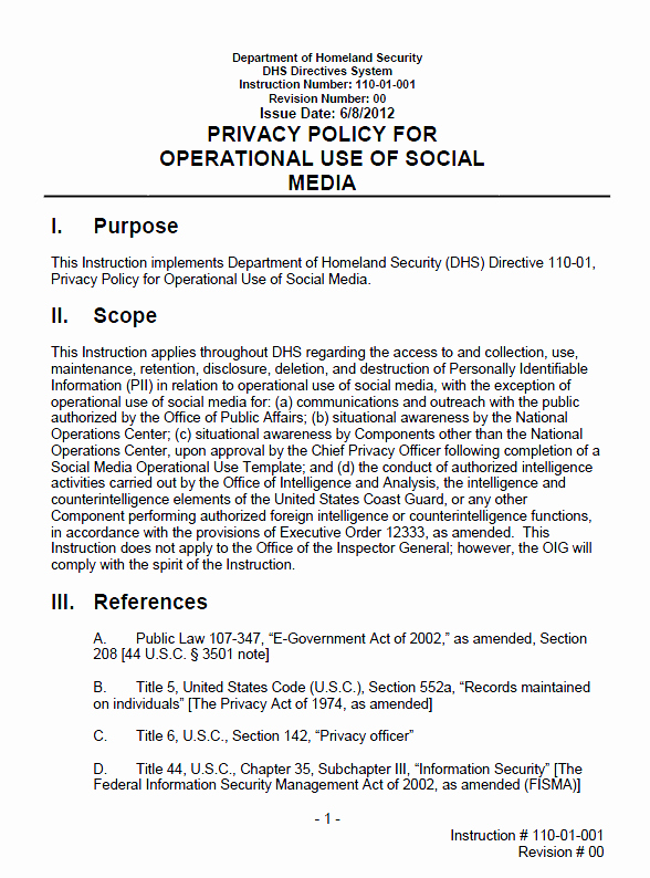 Social Media Policy Templates Awesome Dhs Privacy Policy for Operational Use Of social Media