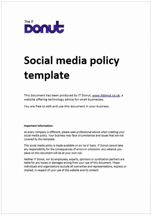 Social Media Policy Templates Beautiful social Media Policy Template