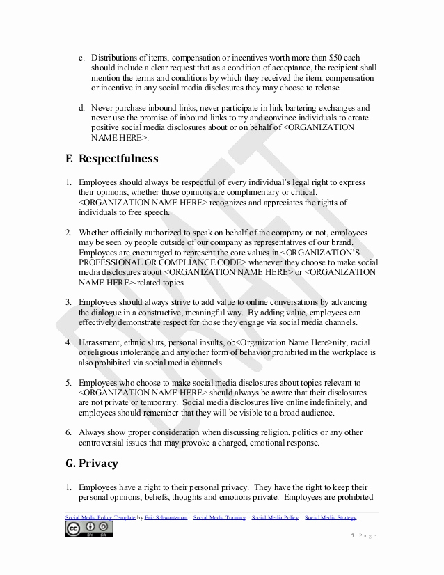 Social Media Policy Templates Fresh social Media Policy Template