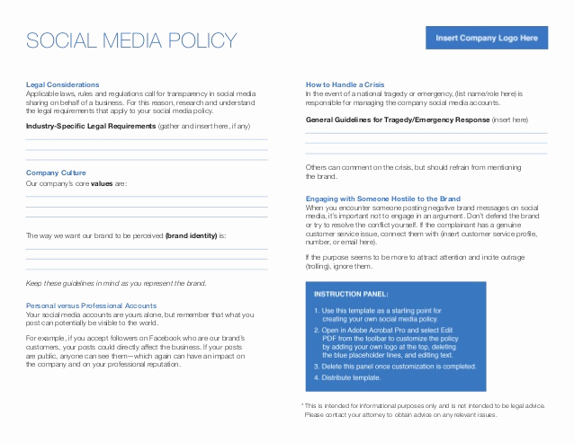 Social Media Policy Templates Inspirational Linkedin Elevate social Media Policy Template