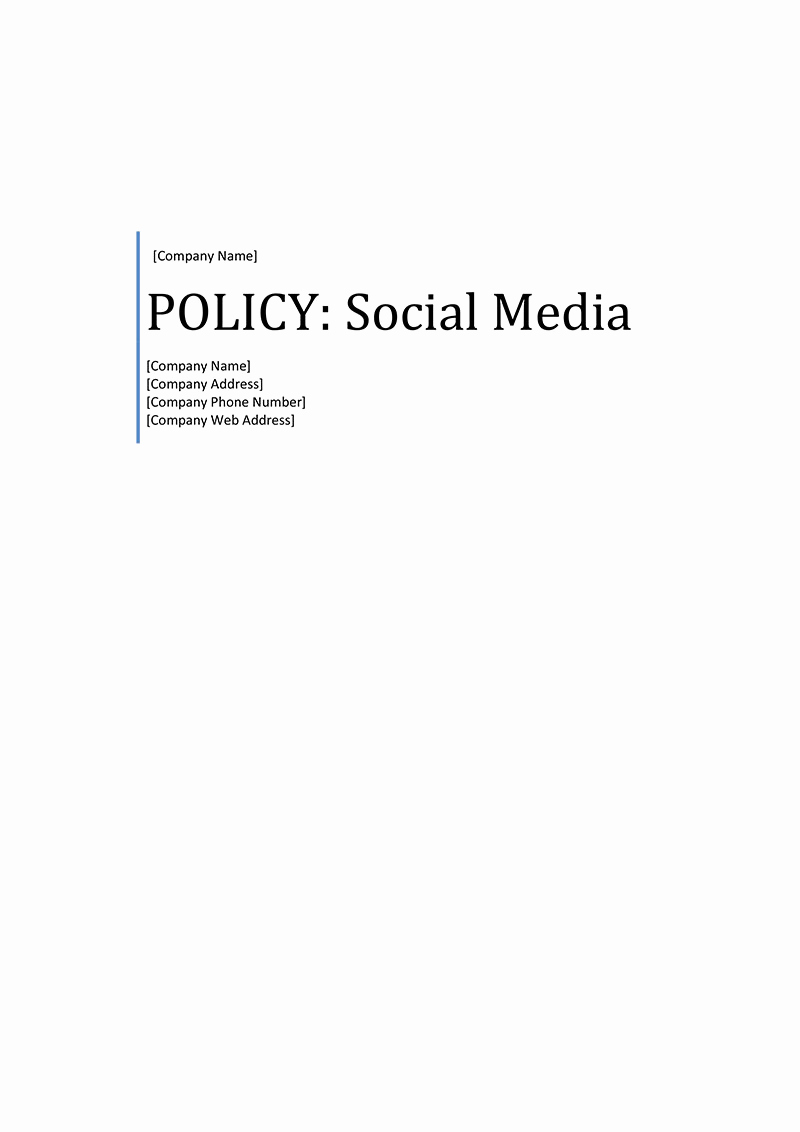 Social Media Policy Templates Lovely social Media Policy Template