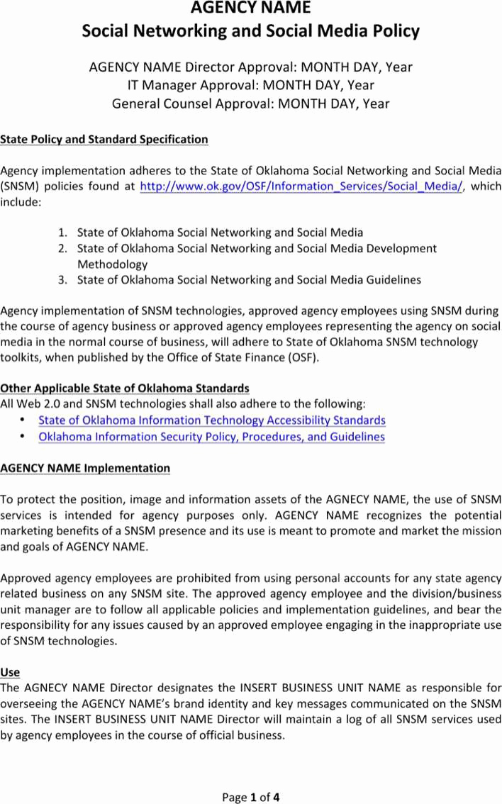 Social Media Policy Templates Unique Download Agency social Media Policy Template for Free
