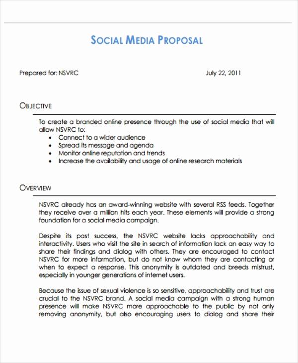 Social Media Proposal Template Beautiful 10 social Media Proposal Templates Free Sample Example