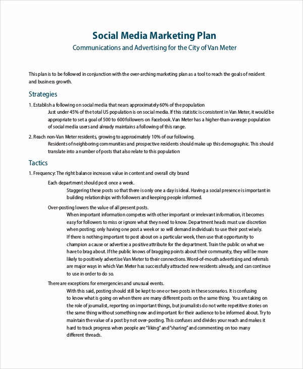 Social Media Proposal Template Fresh Sample social Media Marketing Plan 9 Examples In Pdf