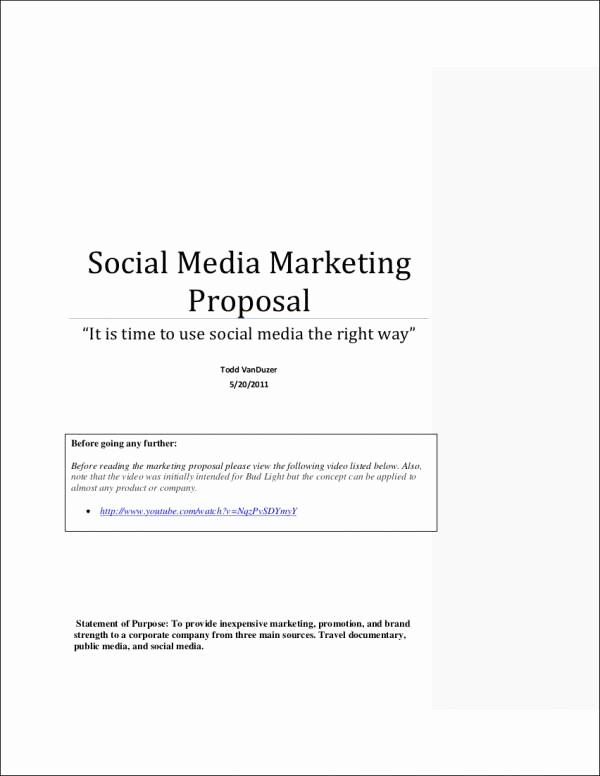 Social Media Proposal Template Inspirational 5 social Media Marketing Proposal Samples & Templates