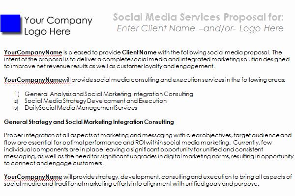 Social Media Proposal Template Inspirational social Media Proposal