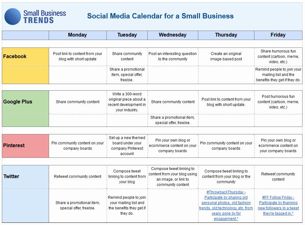 Social Media Proposal Template New social Media Calendar Template for Small Business