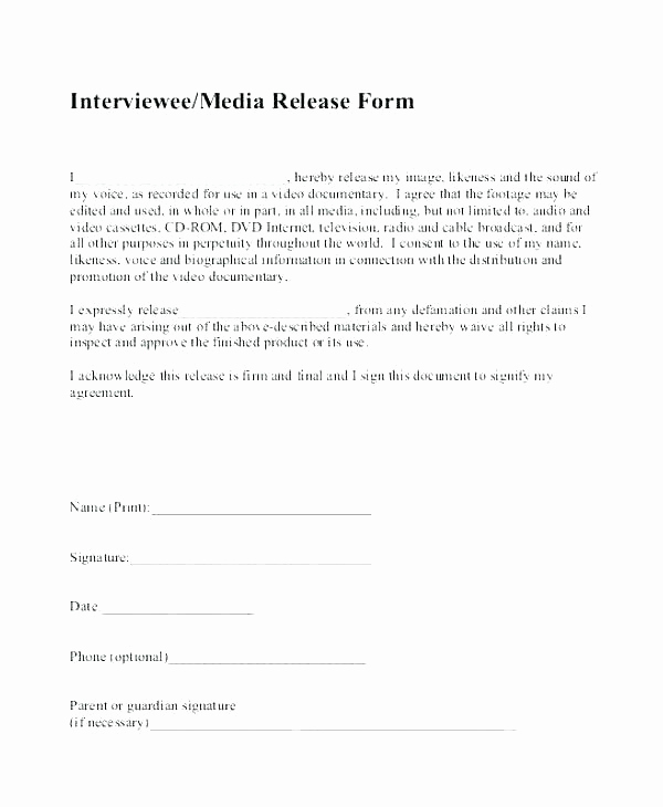 Social Media Release form Best Of Photography Waiver and Release form Template – Deadlingfo