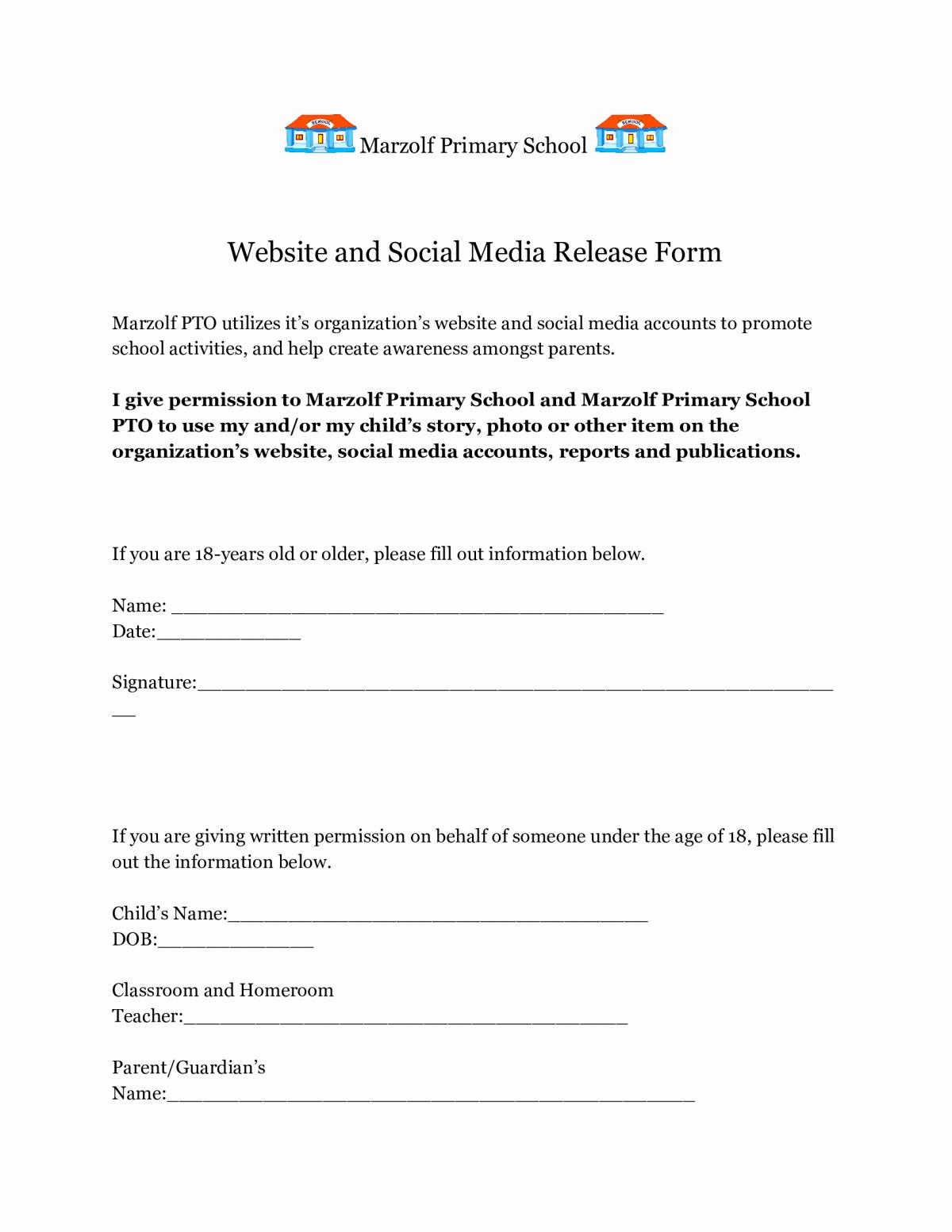 Social Media Release form Lovely Pto