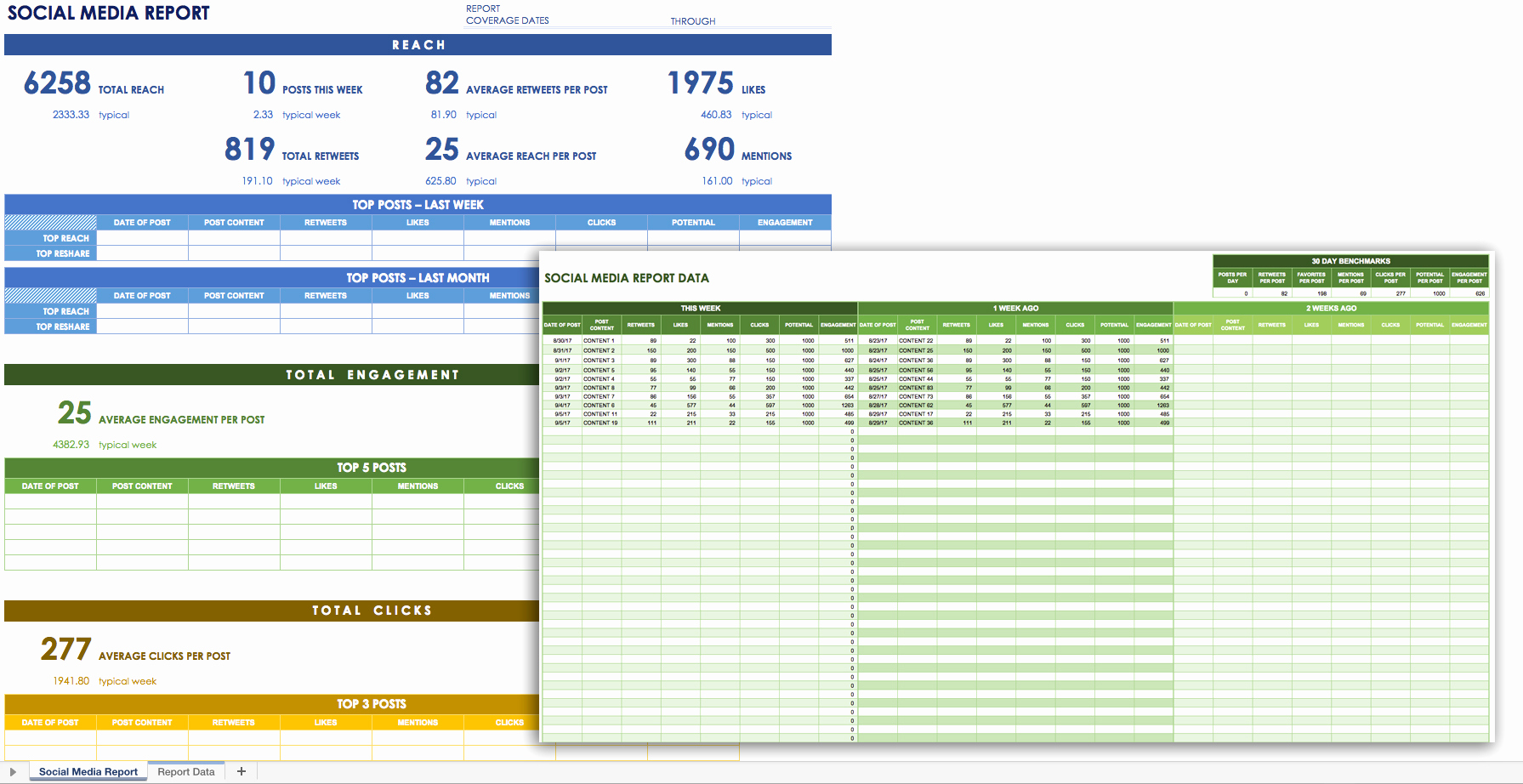 social media report template excel 1268