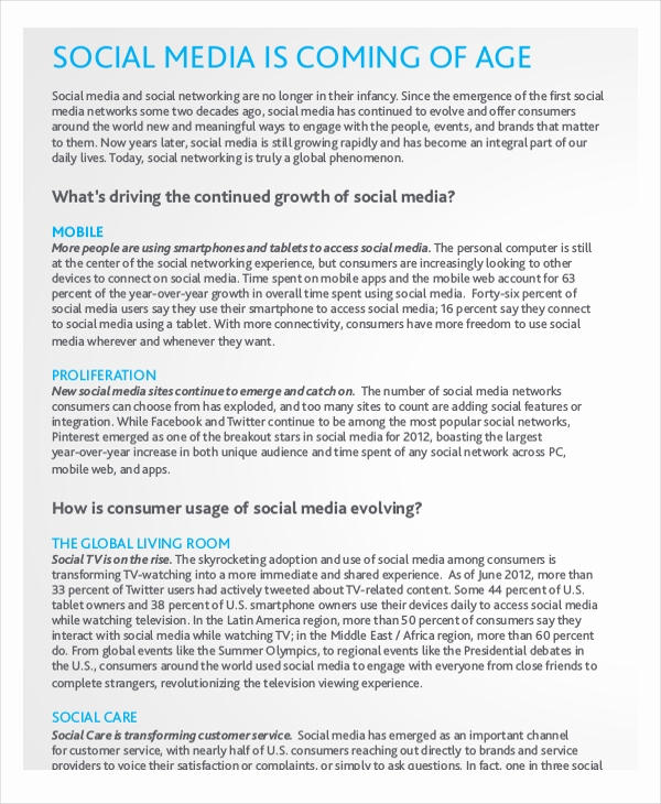 Social Media Reports Template New Report Template – 15 Free Word Pdf Documents Download