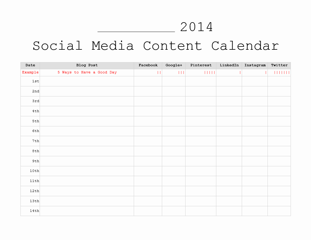 Social Media Schedule Template Awesome 3 Free Monthly Content Marketing Calendars Printable