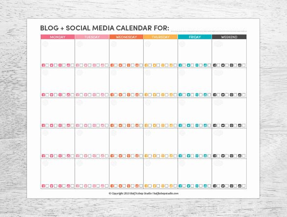 Social Media Schedule Template Best Of social Media Calendar Template