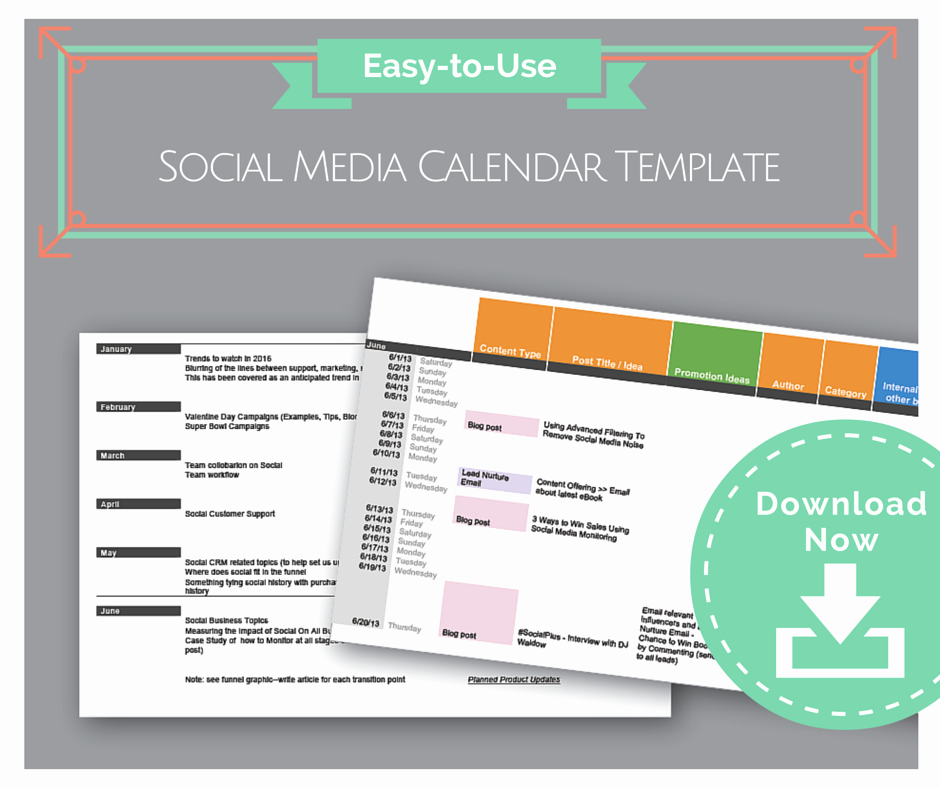Social Media Schedule Template Inspirational Easy to Use social Media Calendar Template