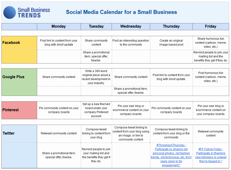 Social Media Schedule Template New social Media Calendar Template for Small Business