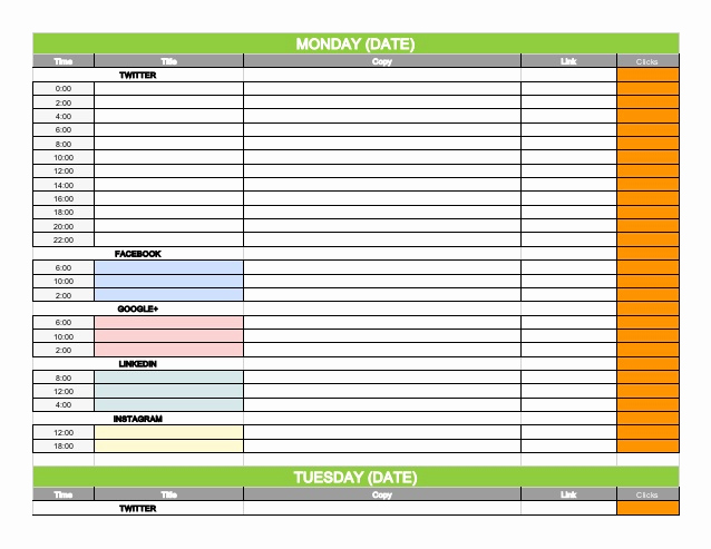Social Media Schedule Template Unique social Media Content Calendar Template Via Hootsuite
