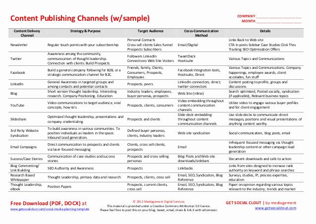 Social Media Strategy Example Inspirational social Media Planning Template