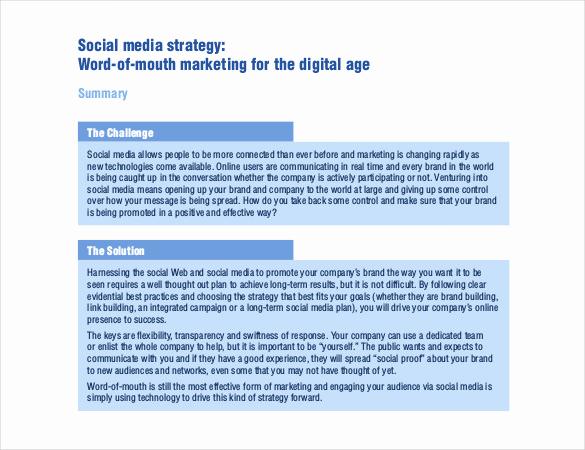 Social Media Strategy Example Unique 15 social Media Strategy Templates Free Pdf Word