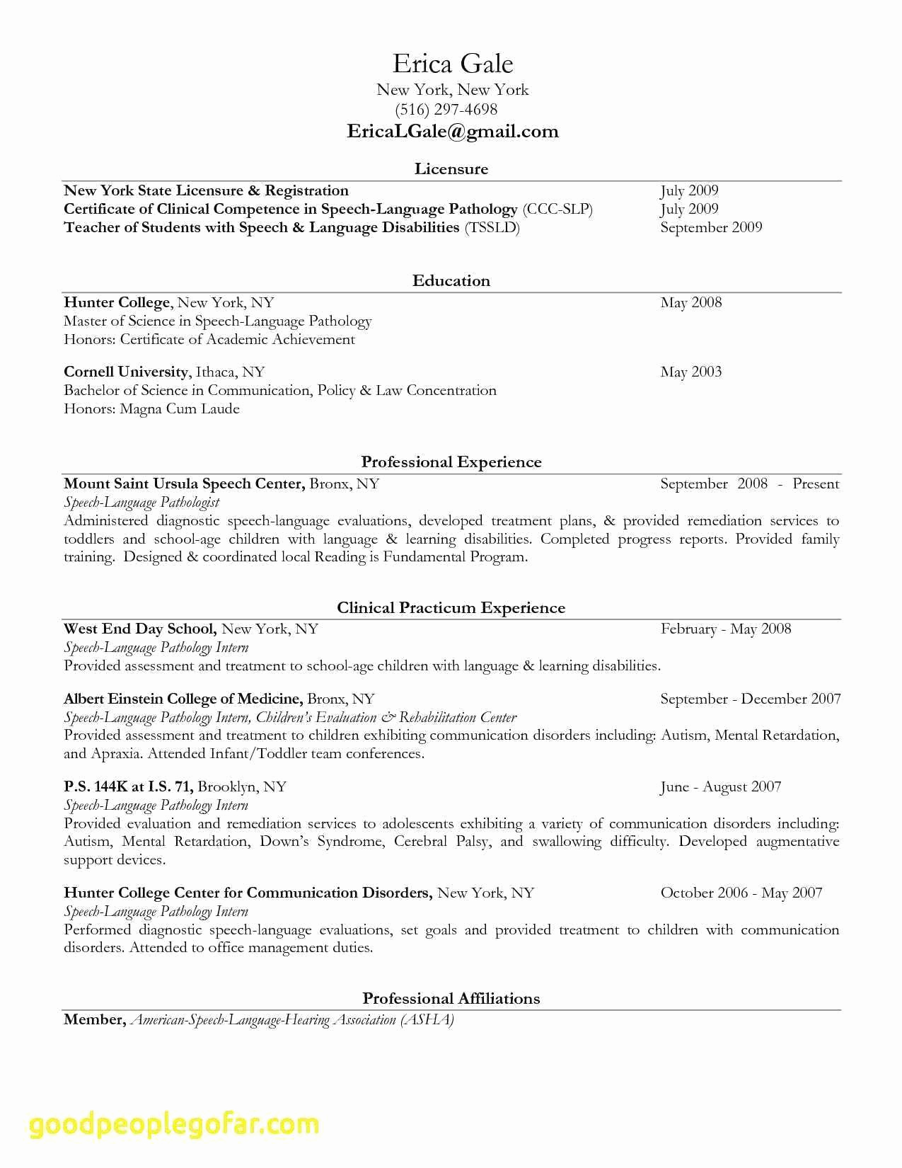 Speech Language Pathologist Resumes Elegant Unique Sample Speech Pathologist Resume