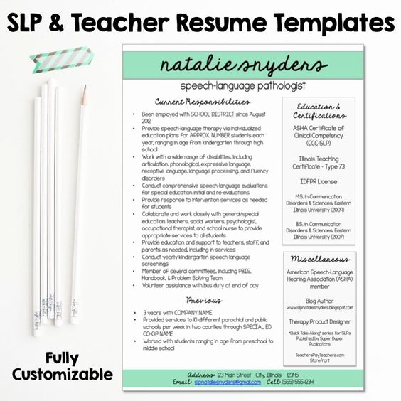 Speech Language Pathologist Resumes Inspirational Slp & Teacher Resume and Cover Letter Templates Fully