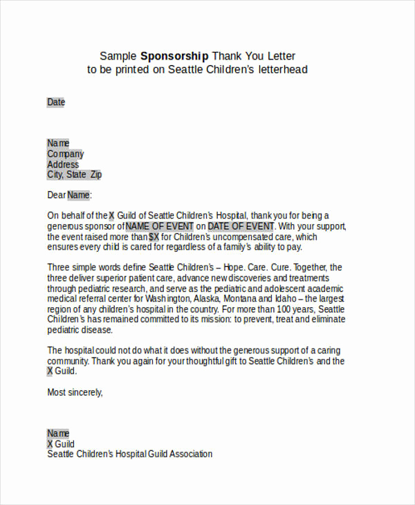 Sponsorship Letter for event Best Of 74 Thank You Letter Examples Doc Pdf