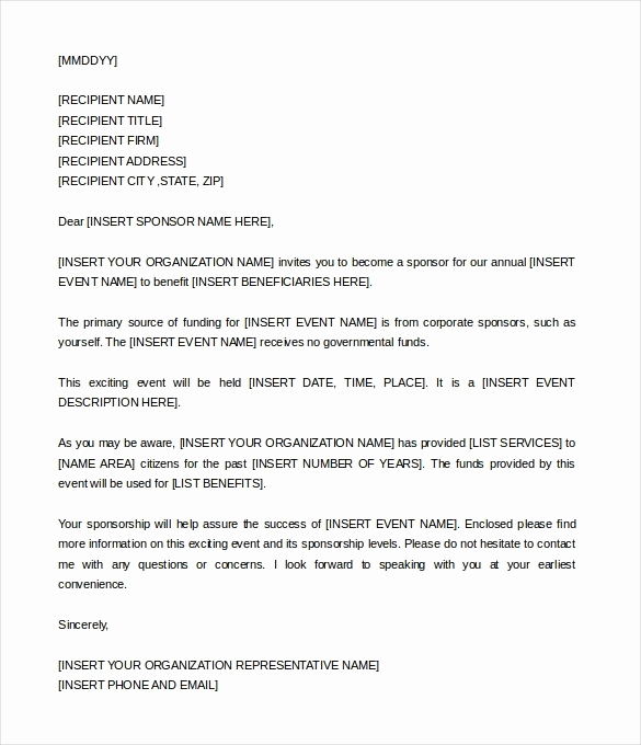 Sponsorship Letter for event Best Of Sponsorship Invitation Letter Cobypic