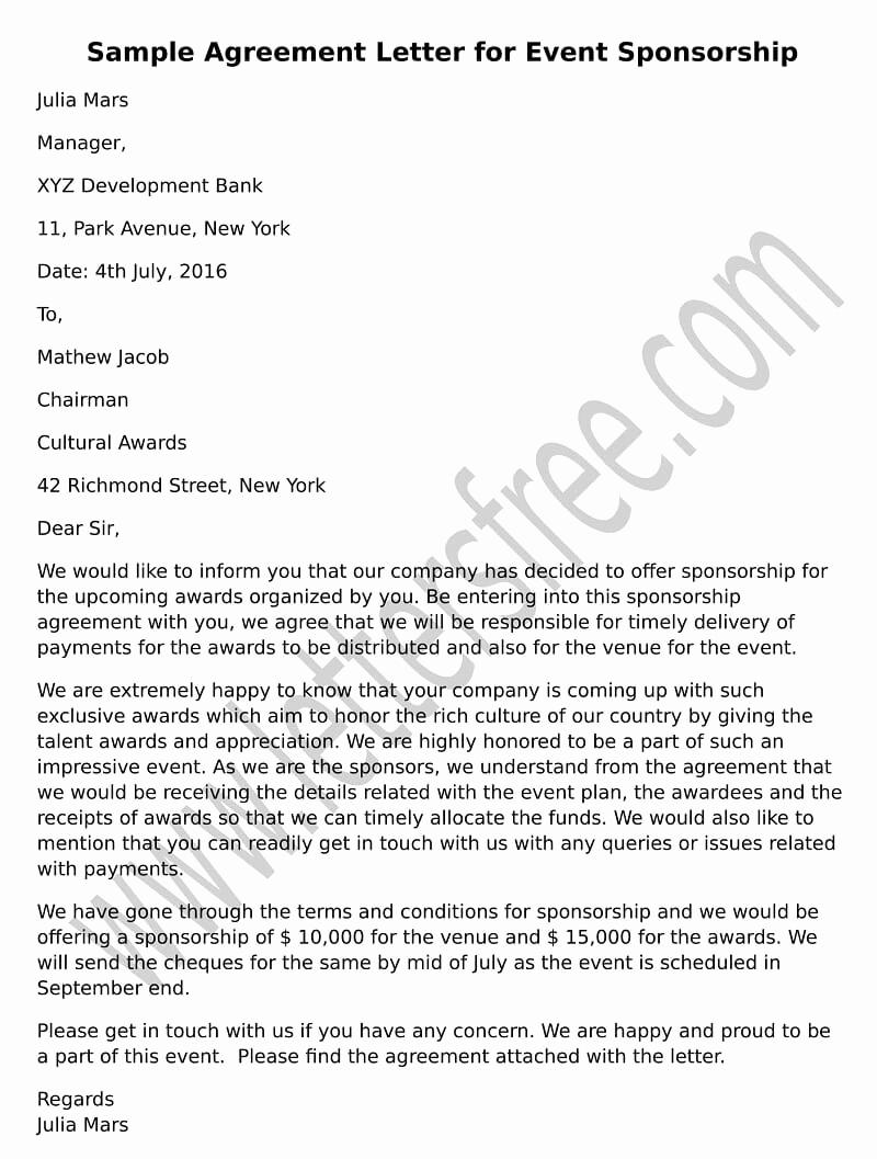 Sponsorship Letter for event Fresh Sample Agreement Letter for Debt Settlement Free Letters