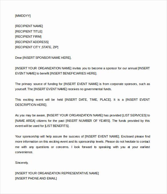 Sponsorship Letter for event Inspirational Sponsorship Letter Template – 8 Free Word Pdf Documents