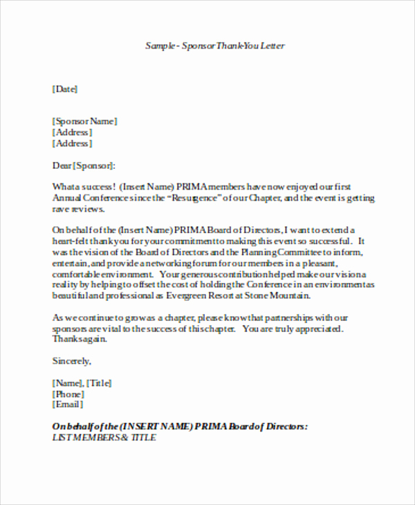 Sponsorship Letter for event Lovely Sample Sponsorship Thank You Letter 6 Examples In Word Pdf