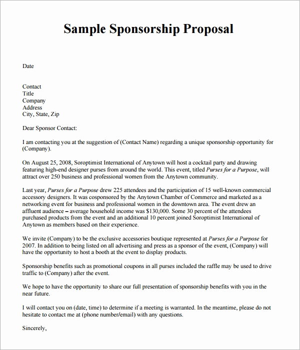 Sponsorship Letter for event Lovely Sponsorship Proposal Template