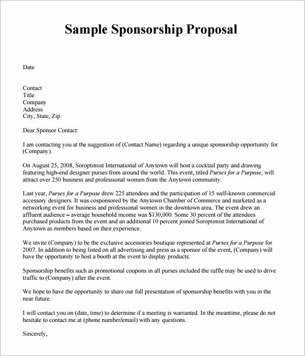 Sponsorship Letter for event Lovely Sponsorship Proposal Template