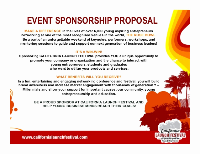 Sponsorship Letter for event New California Launch Festival 2014 Pitch Deck