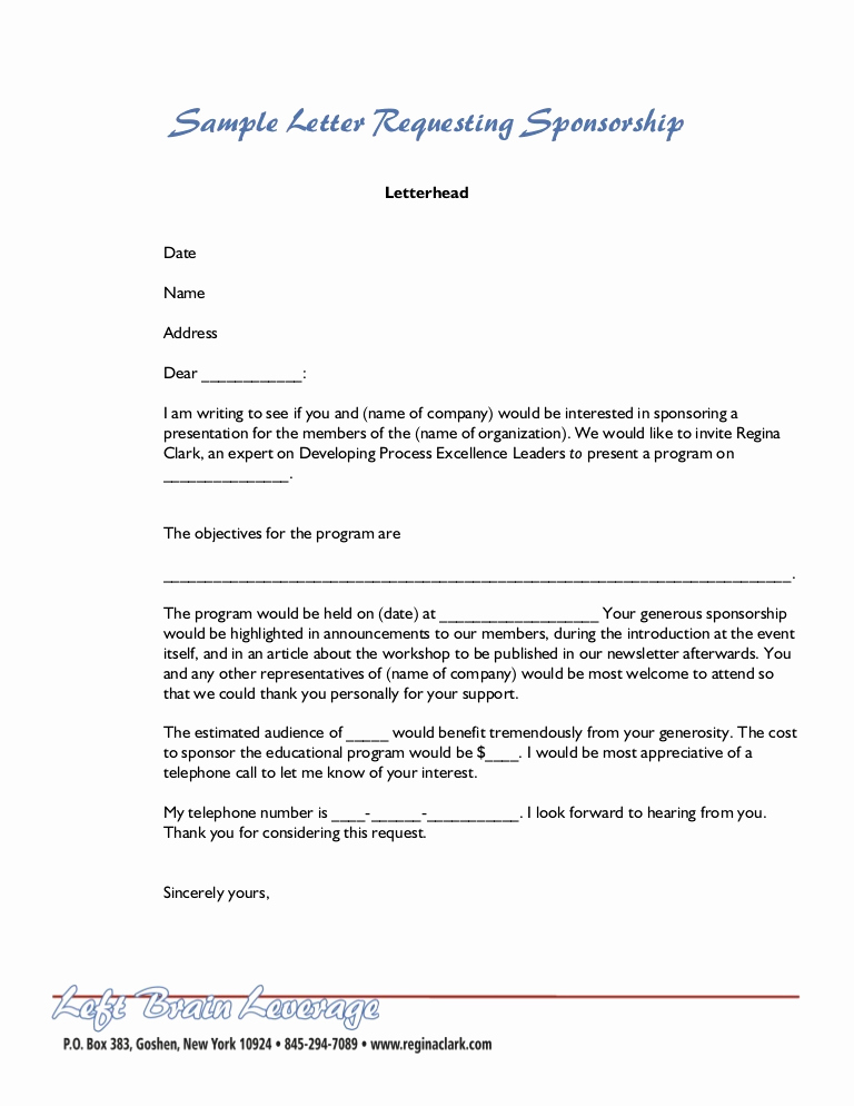 Sponsorship Letter for event New Sample Letter for Sponsorship