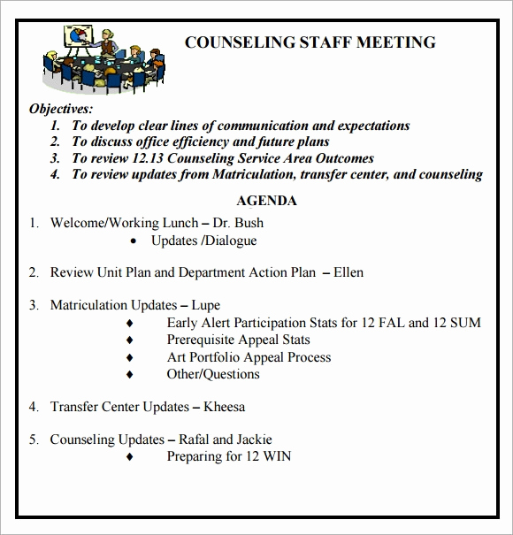 Staff Meeting Agenda Template Awesome Staff Meeting Agenda 7 Free Download for Pdf